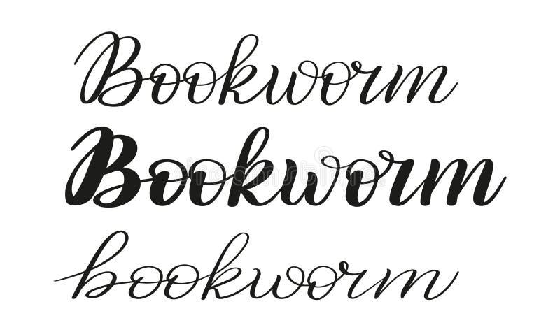 bookworm Trzy różnego piszą stylu Szczotkarski pióra literowanie wektor ilustracji