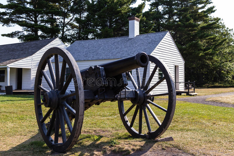 Boom!. Historical cannon ready for action Fort Wilkins State Park. Copper Harbor, Michigan royalty free stock images