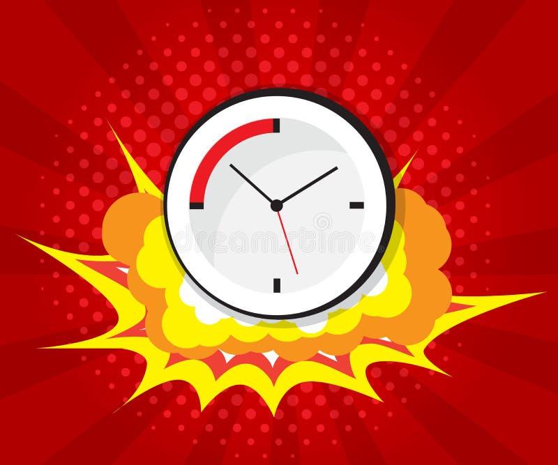 Boom abstrait avec la bande dessinée d'horloge, fond d'art de bruit illustration de vecteur