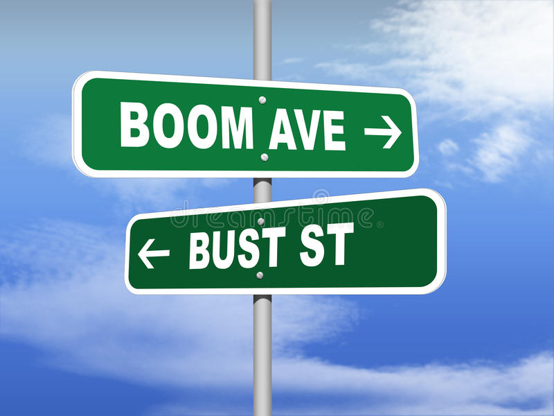 Boom Avenue Bust Street Road Signs. An illustration of Boom Avenue Bust Street road signs royalty free illustration