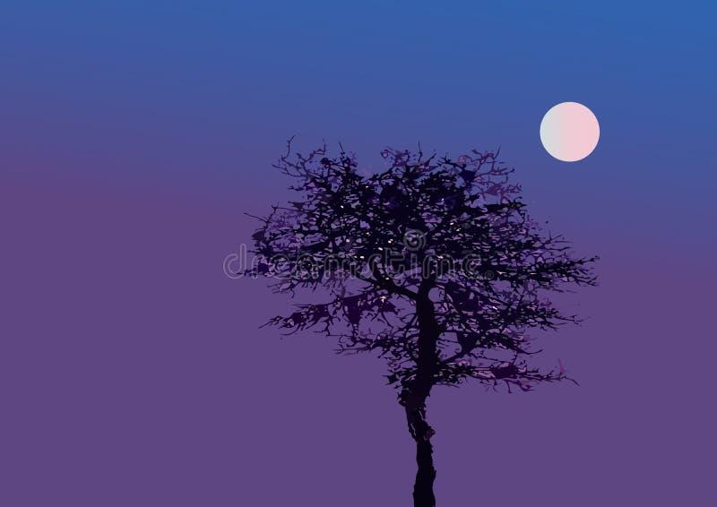 Boom bij maanlicht royalty-vrije illustratie