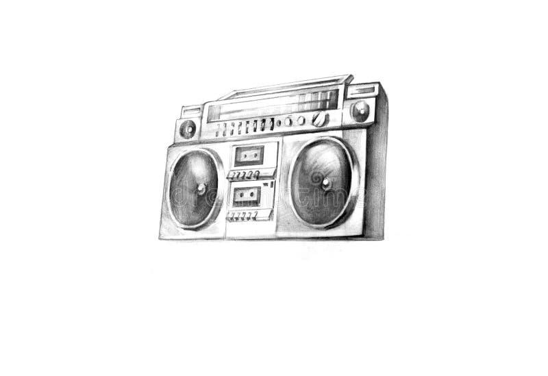 Boom box. Detailed drawn boom box stereo system royalty free stock photos