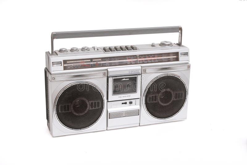 Boom box. Retro boom box radio on white stock images