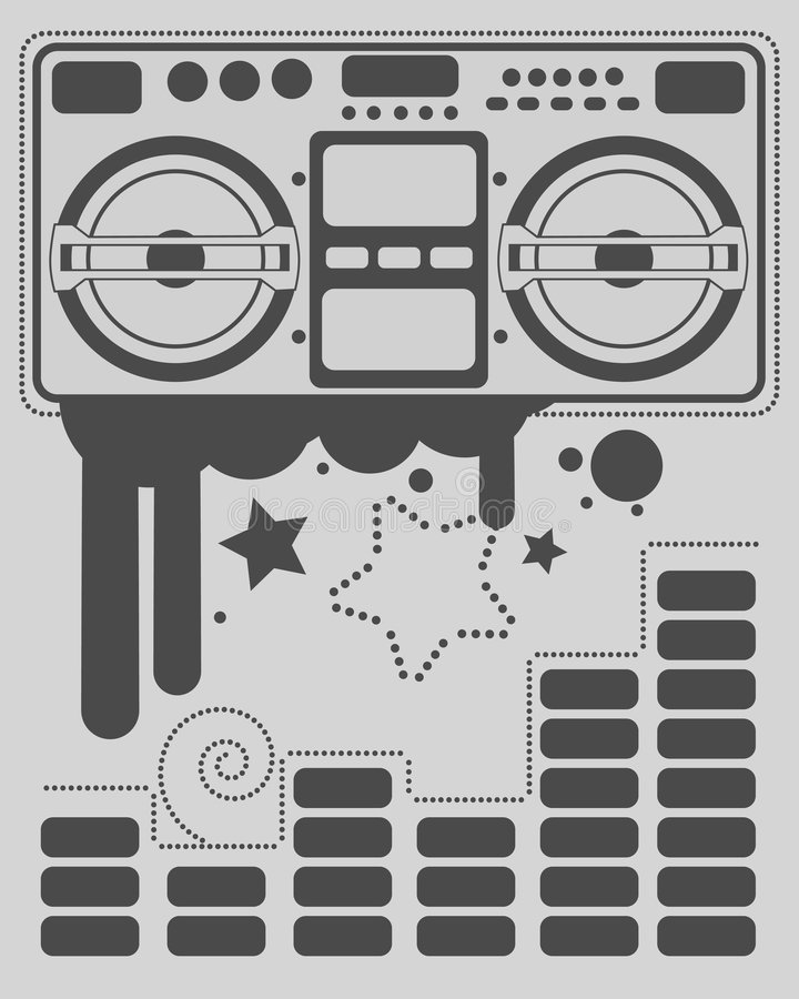 Boom box. With ink splashes and equalizer vector illustration