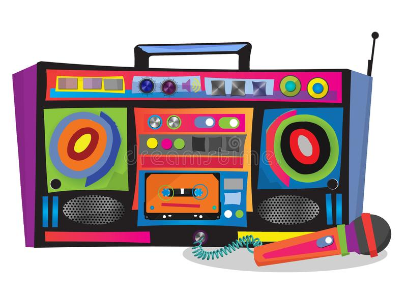 Boom Box Pop Art. Boom Box Colorful Pop Art karaoke Speaker Microphone Party Juke Music Box Fun Modern Art stock illustration