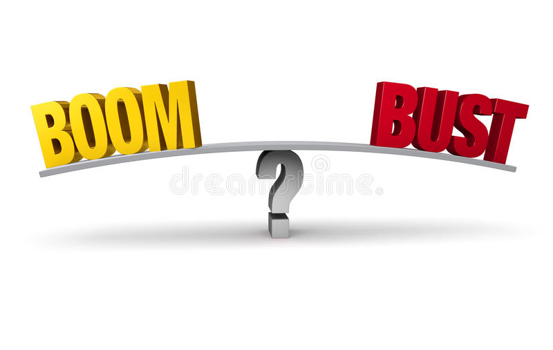 Boom Or Bust?. A bright, gold BOOM and a red BUST sit on opposite ends of a gray board balanced on a gray question mark. Isolated on white royalty free illustration