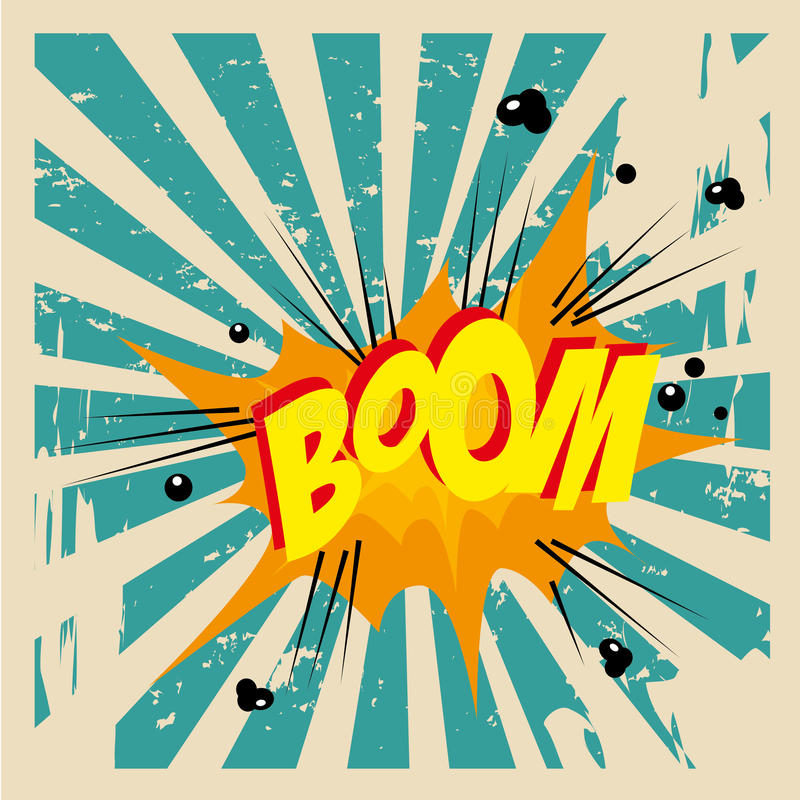 Boom comic. Over grunge background vector illustration royalty free illustration