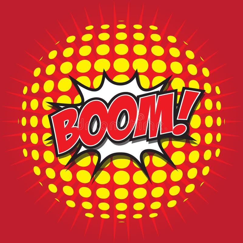 BOOM! comic word. BOOM! wording sound effect set design for comic background royalty free illustration