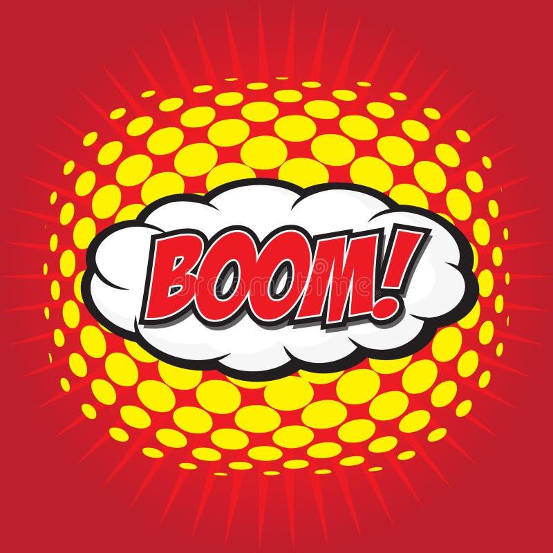 BOOM! comic word. BOOM! wording sound effect set design for comic background stock illustration