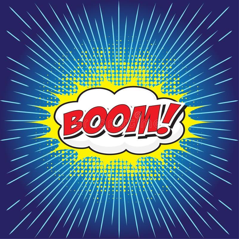 BOOM! comic word. BOOM! wording in comic speech bubble in pop art style on burst background vector illustration