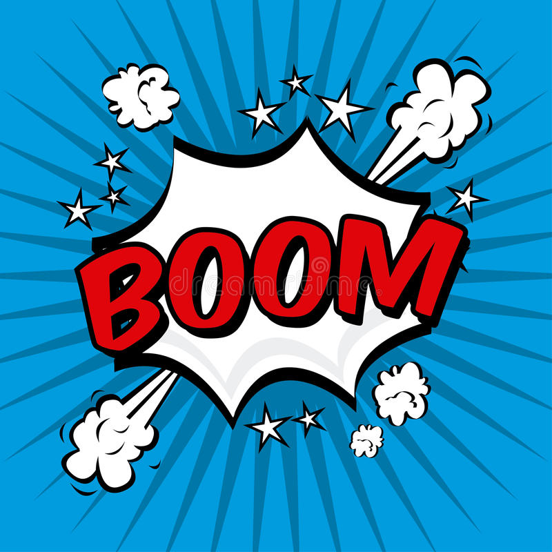 Boom comics icon. Over blue background vector illustration stock illustration