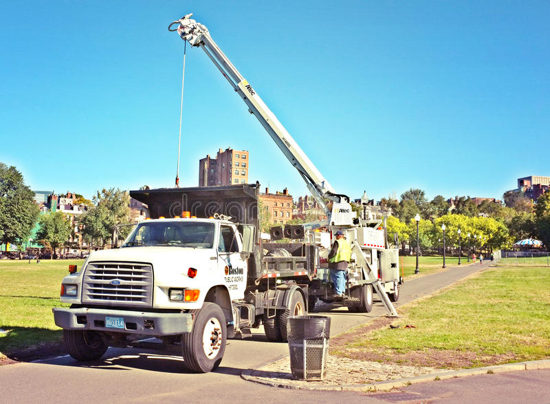 Boom Crane Truck Construction images stock