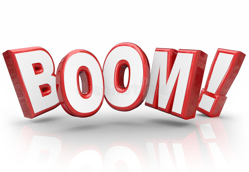Boom 3d Word Explosive Growth Increase Sales Economy Improvement royalty free illustration