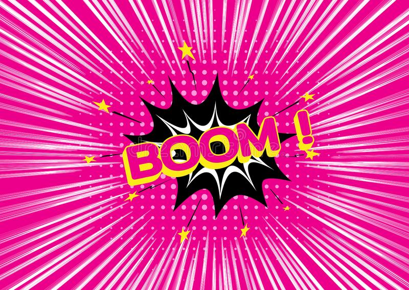 Boom de lettrage Art de bruit Lignes colorées roses lumineuses fond de vitesse Lignes de mouvement d'effet pour la bande dessin?e illustration de vecteur