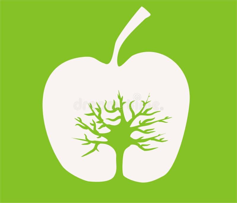 Boom in een appel vector illustratie