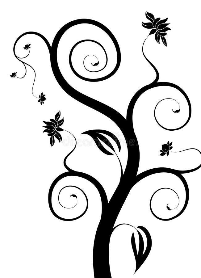 Boom en bloem vector illustratie