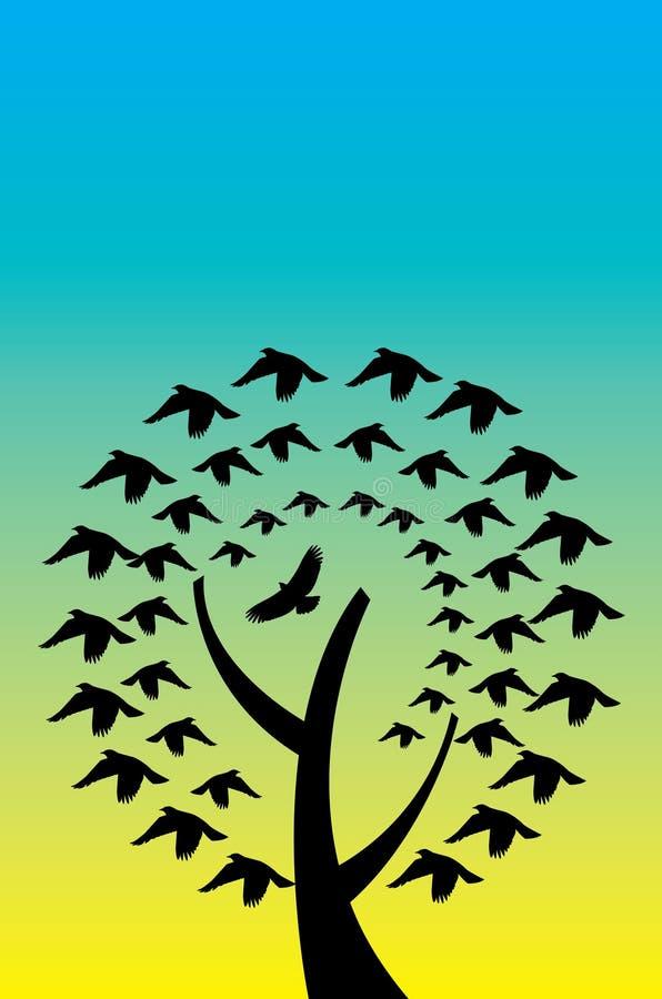 Boom en Vogels stock illustratie
