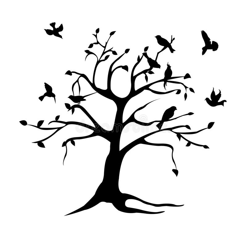 Boom en vogelssilhouet royalty-vrije illustratie