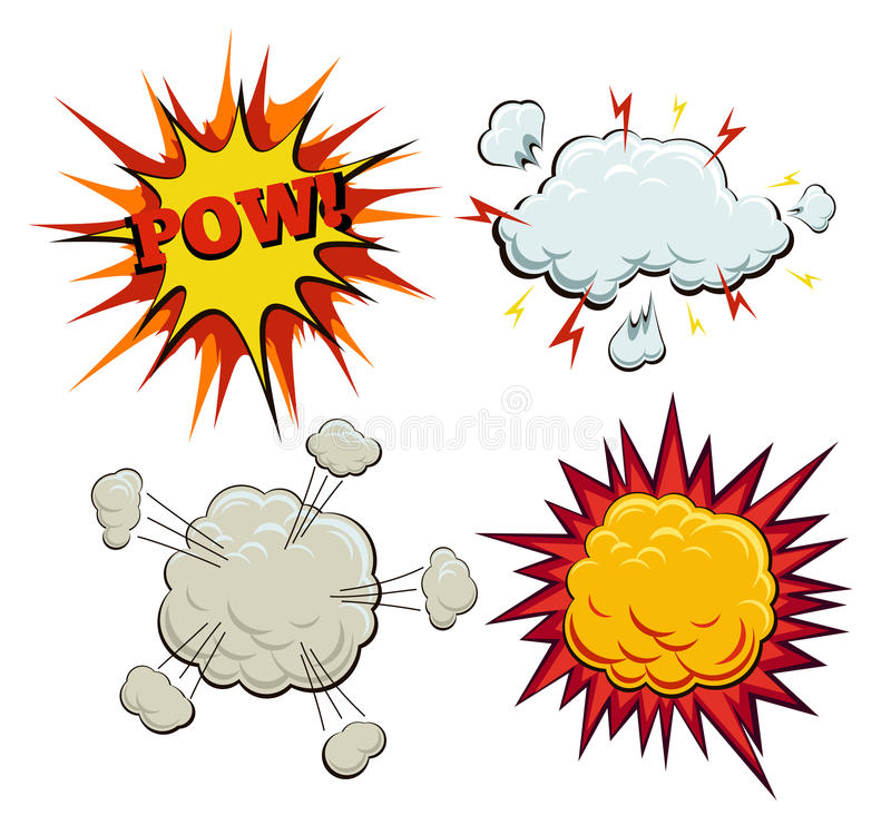 Boom, explosion and pow set. Burst and bang, blast and artwork sketch, fire and smoke bubble, vector illustration stock illustration
