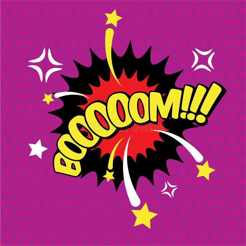 Boom grappige inschrijving, tekst, de uitbarsting van de toespraakbel, woord in de wolk Visueel explosieeffect, vectorillustratie vector illustratie