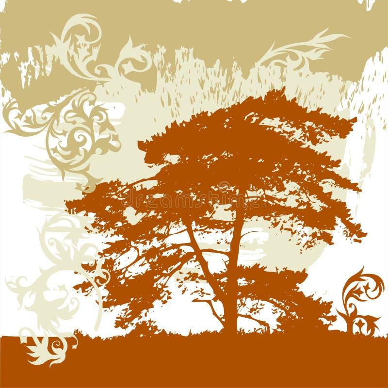 Boom, grunge bloemenornament vector illustratie