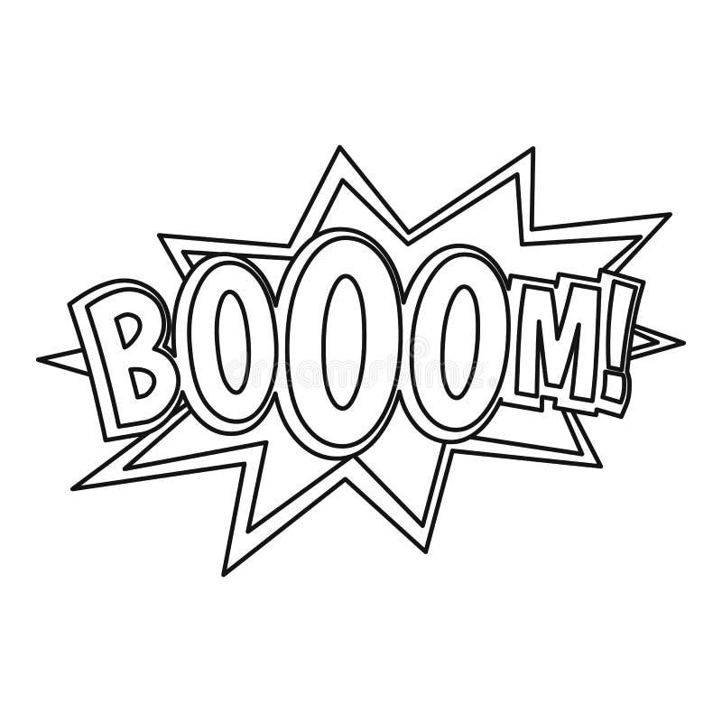 Boom, het grappige pictogram van de boekexplosie, overzichtsstijl stock illustratie