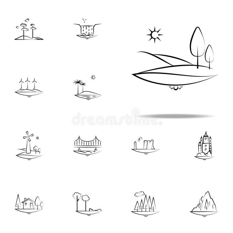 boom, het pictogram van de zonberg Voor Web wordt geplaatst dat en het mobiele algemene begrip van Landspacepictogrammen stock illustratie