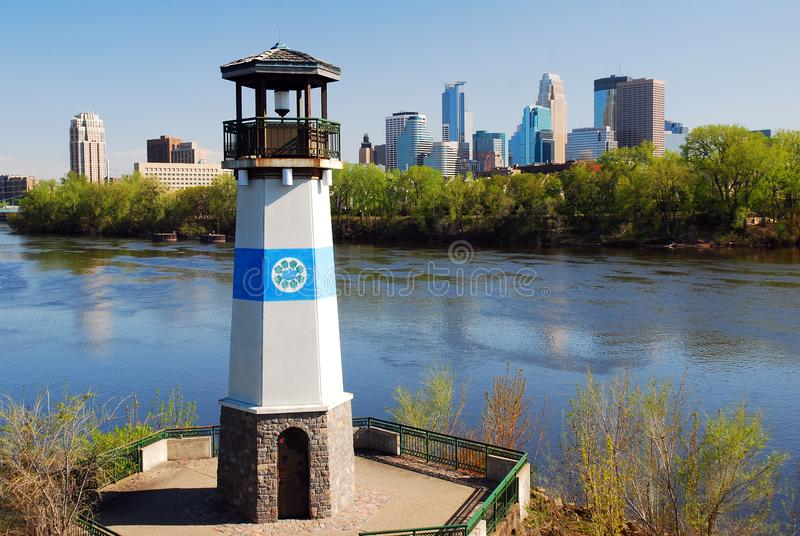 Boom Island Light, Minneapolis. The Boom Island Light, in Minneapolis, Minnesota, once guided ships plying the Mississippi River stock photography
