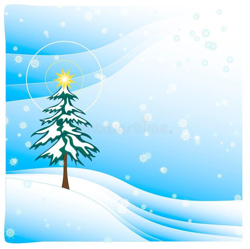 Boom in licht Dalende Sneeuw vector illustratie