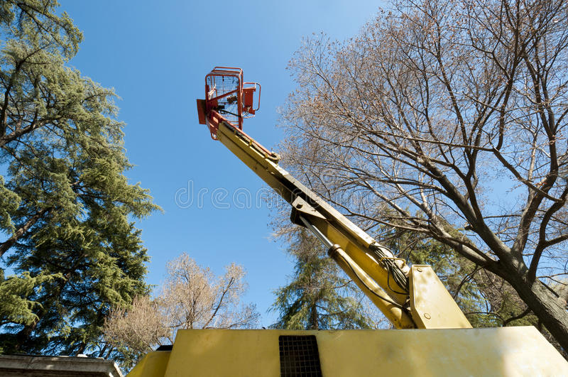 Boom Lift. Diesel Powered Articulating Boom Lift royalty free stock photo