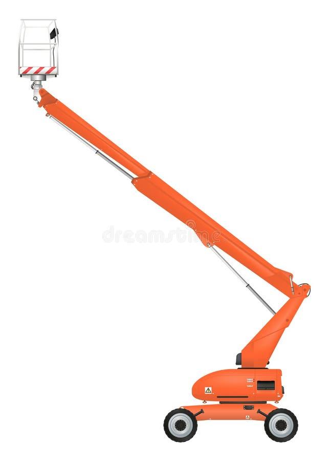 Boom lift. Orange telescopic boom lift. Raster royalty free illustration