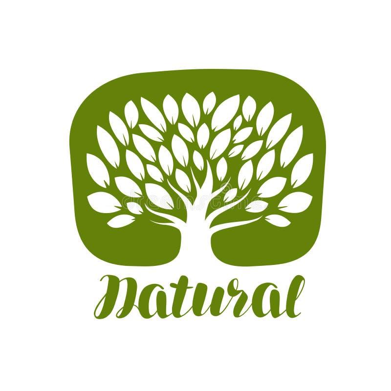 Boom met bladerenetiket of embleem Natuurlijk, organisch pictogram Van letters voorziende Vectorillustratie royalty-vrije illustratie