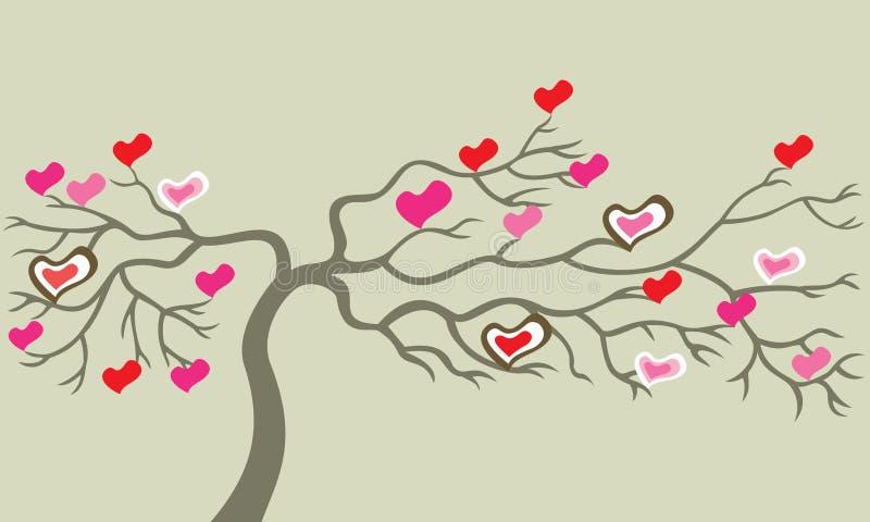 Boom met harten. vector illustratie