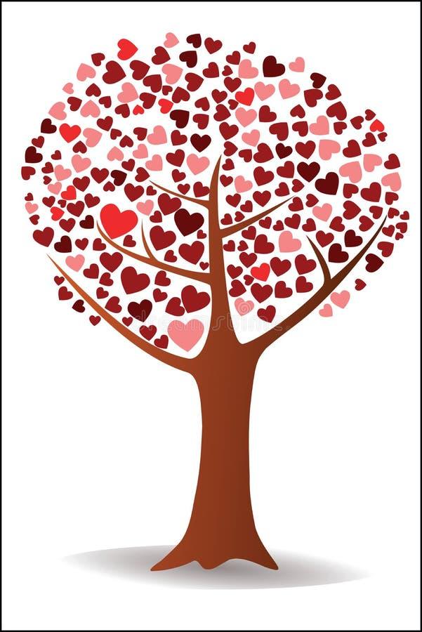 Boom met harten vector illustratie
