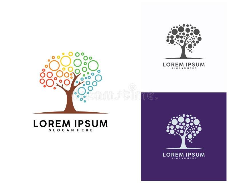 Boom met het ontwerpmalplaatje van het Hersenenembleem, Brain Colorful-de Vector van het embleemontwerp stock illustratie