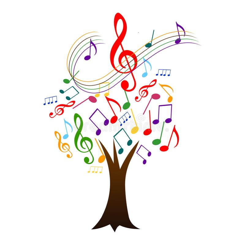 Boom met muzieknota's Muziekboom vector illustratie