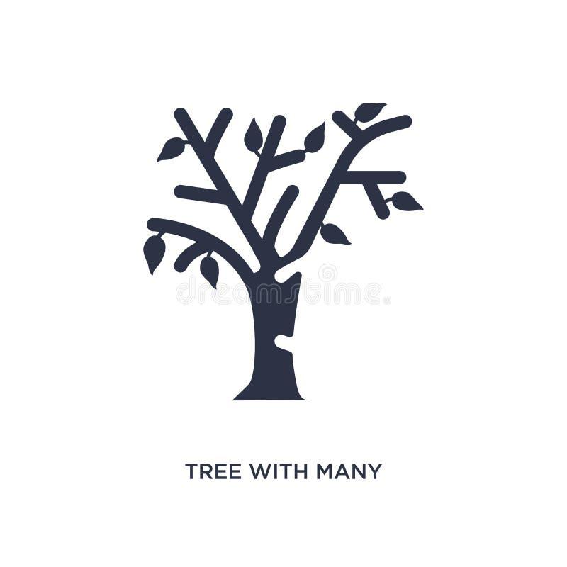 boom met vele bladerenpictogram op witte achtergrond Eenvoudige elementenillustratie van ecologieconcept vector illustratie