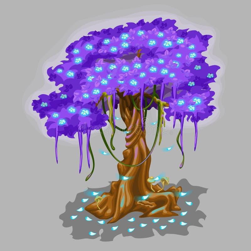 Boom met violet gebladerte en blauwe dalende bladeren vector illustratie