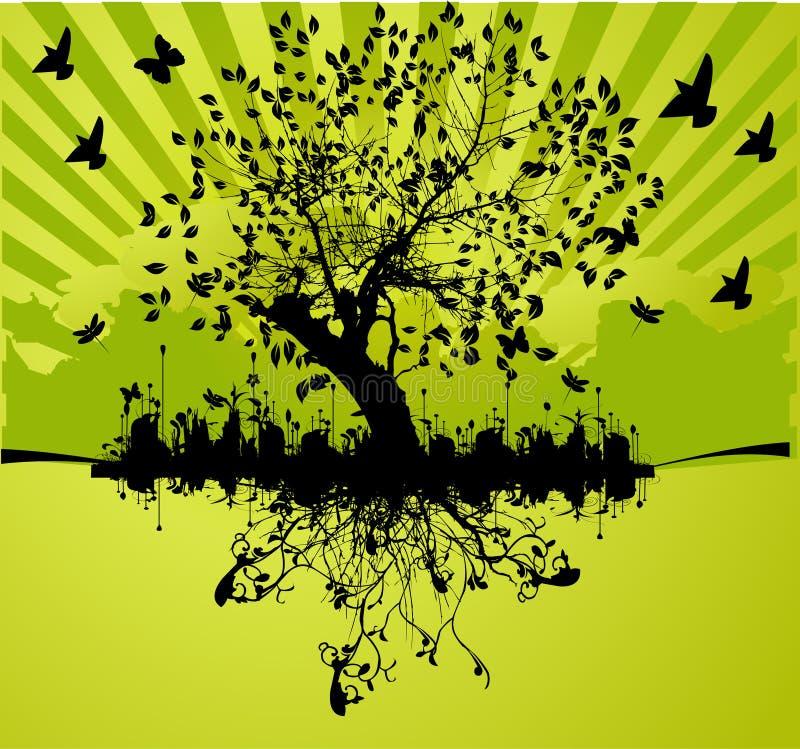 boom met wortel stock illustratie