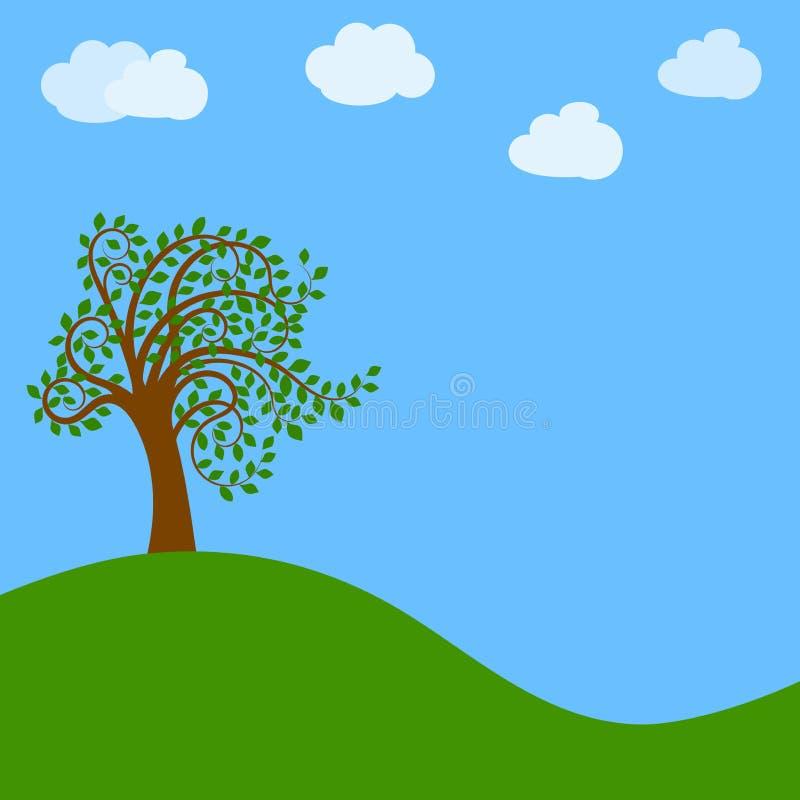 Download Boom op groene weide vector illustratie. Illustratie bestaande uit decor - 54078285