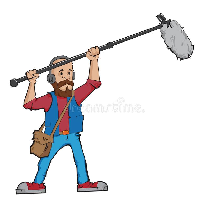 Boom operator. In the process of recording sound. Vector illustration stock illustration