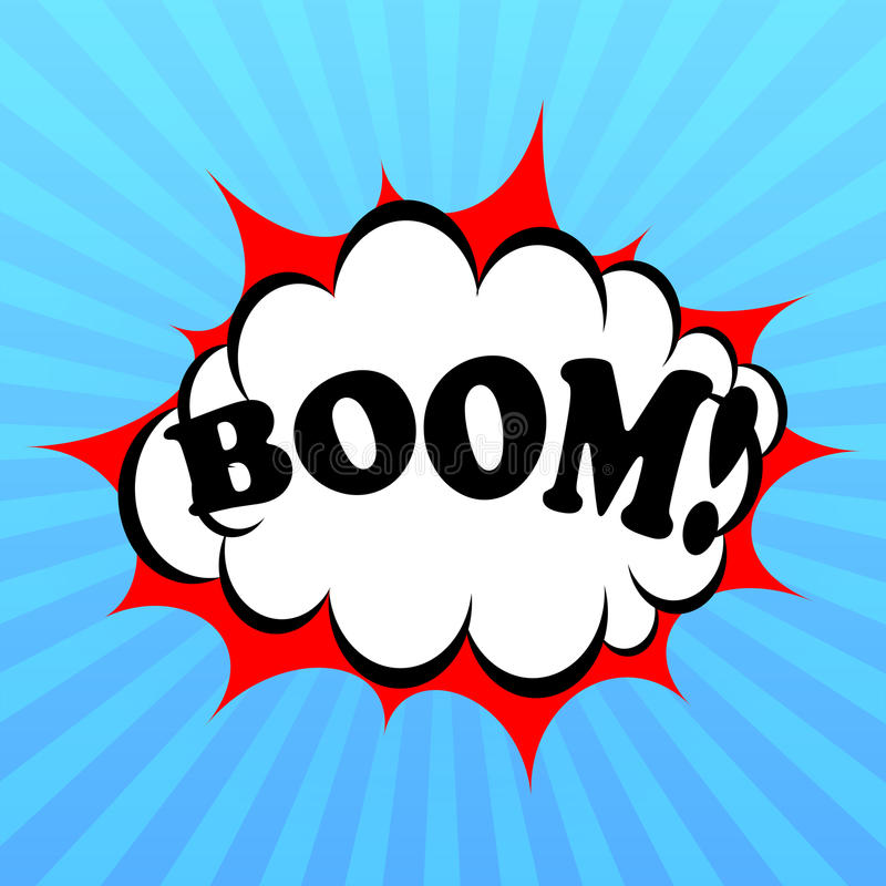 Boom poster. Boom comic poster with bursting explosion stock illustration