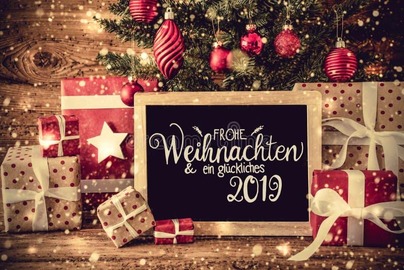 Boom, Retro Giften, Kalligrafie Glueckliches 2019 Middelen Gelukkige 2019 stock foto's