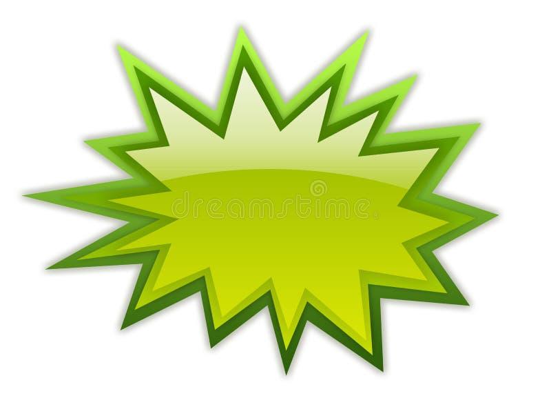 Boom star icon. Green bursting boom icon over white stock illustration