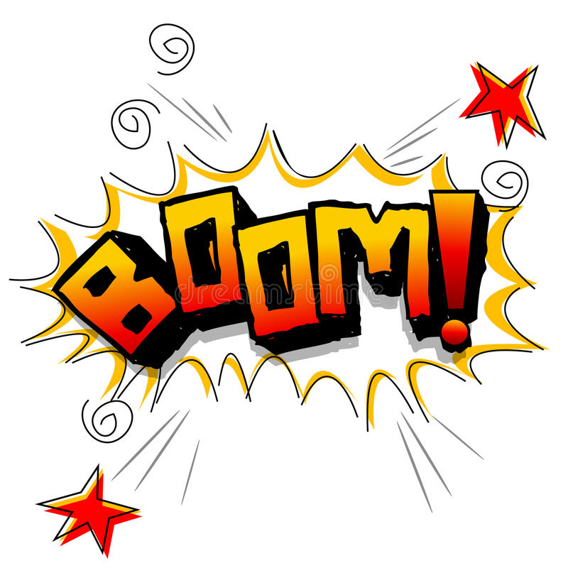 Boom with stars. Illustration of boom with stars on white background stock illustration