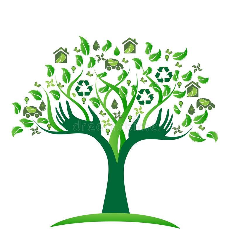Boom van ecologie de groene pictogrammen met de vector van het handenembleem vector illustratie