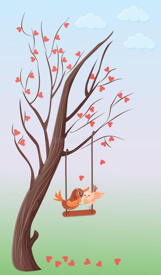 Boom van harten en twee dwergpapegaaien op een schommeling stock illustratie