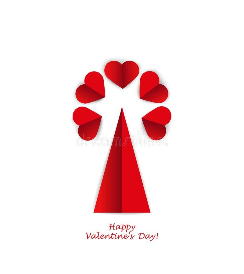 Boom van harten, imitatiedocument de dag van de kaartvalentijnskaart royalty-vrije illustratie