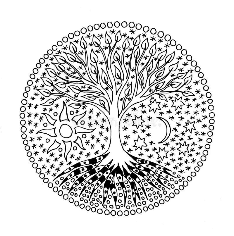 Boom van het leven in de cirkel mandala Zon en maan Geestelijk Symbool royalty-vrije illustratie