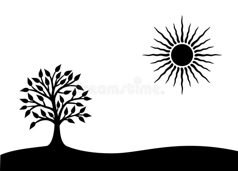 Boom van het Leven Een symbolisch zwart-wit beeld Vector horizontale grafiek stock illustratie